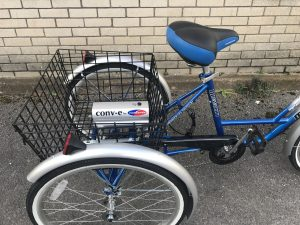 Tricycle with Battery in rear basket
