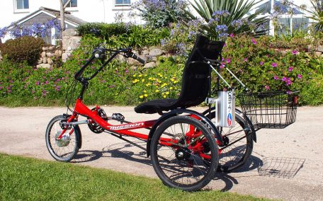 Red Mission Cycles Semi Recumbent Trike fitted with Conv-e conversion kit