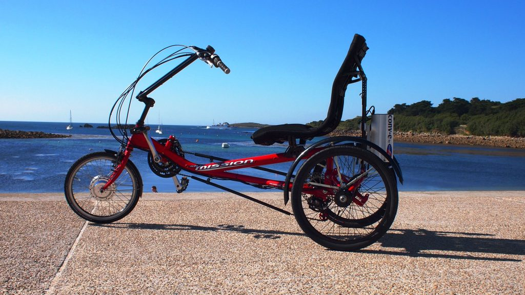 Red semi recumbent on the Isles of Scilly with conv-e conversion kit
